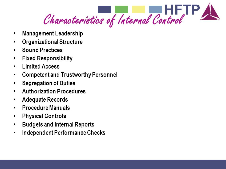Characteristics of Internal Control