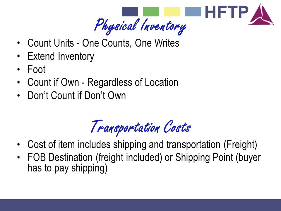 Physical Inventory Transportation Costs