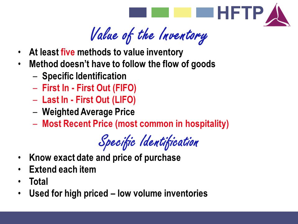 Value of the Inventory At least five methods to value inventory