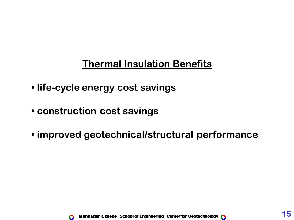 Thermal Insulation Benefits life-cycle energy cost savings