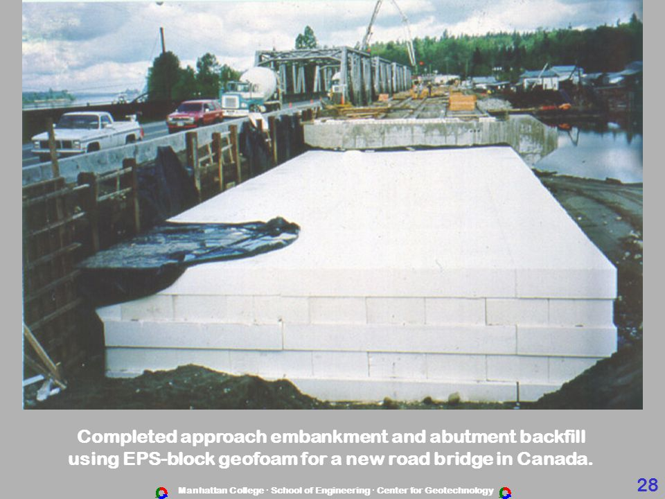 Completed approach embankment and abutment backfill