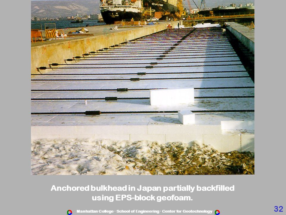Anchored bulkhead in Japan partially backfilled