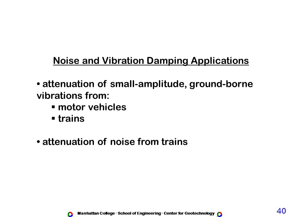 Noise and Vibration Damping Applications