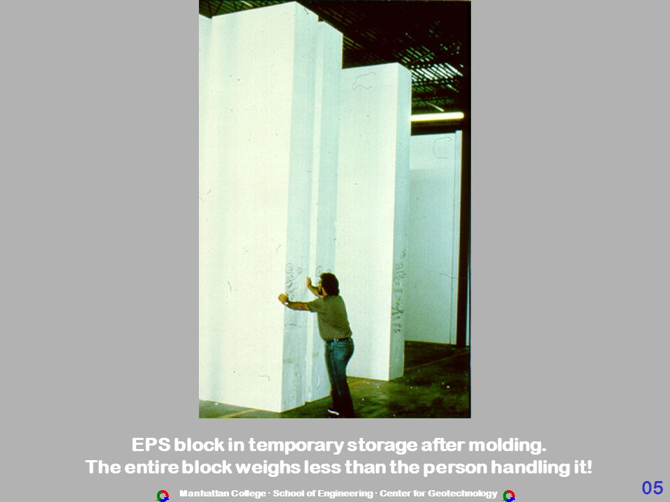 EPS block in temporary storage after molding.