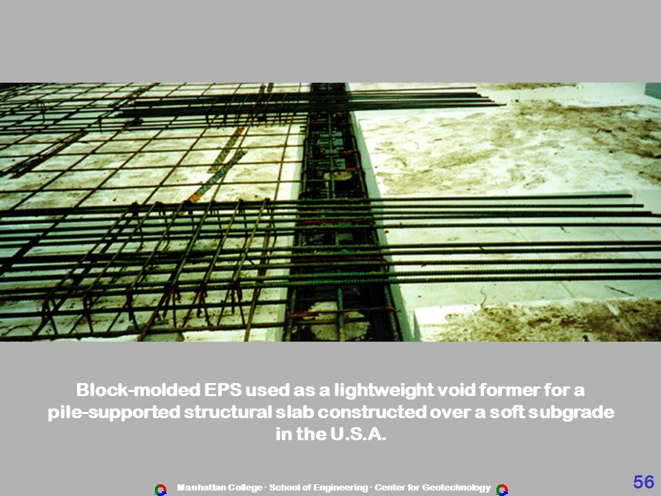 Block-molded EPS used as a lightweight void former for a