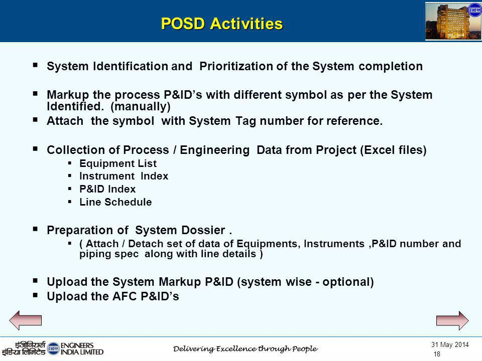 POSD Activities System Identification and Prioritization of the System completion.
