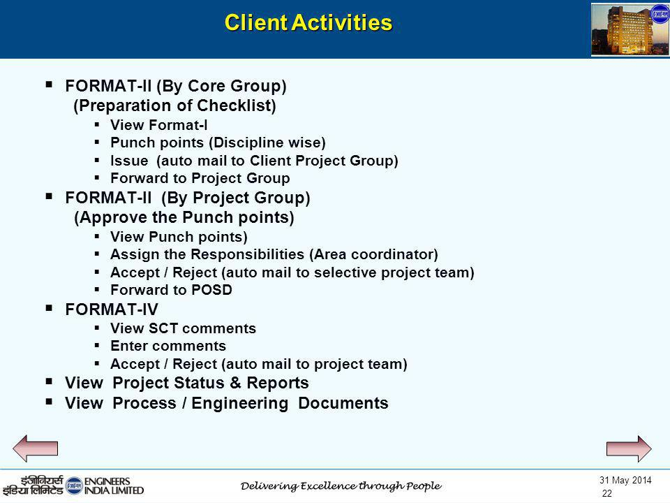 Client Activities FORMAT-II (By Core Group) (Preparation of Checklist)