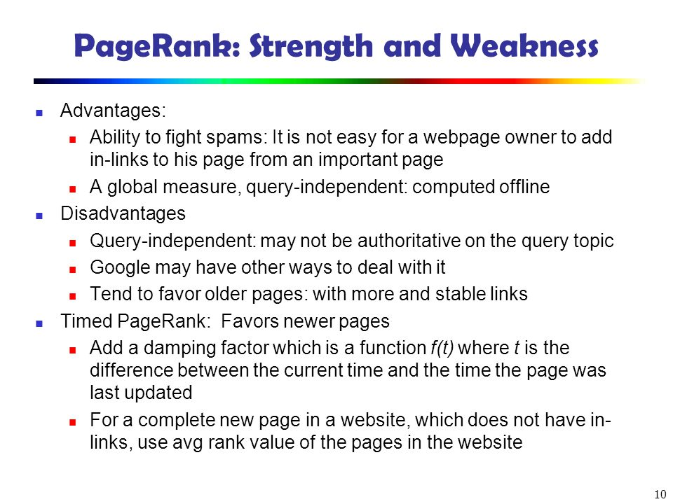 PageRank: Strength and Weakness