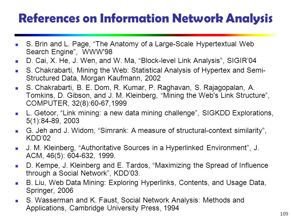References on Information Network Analysis