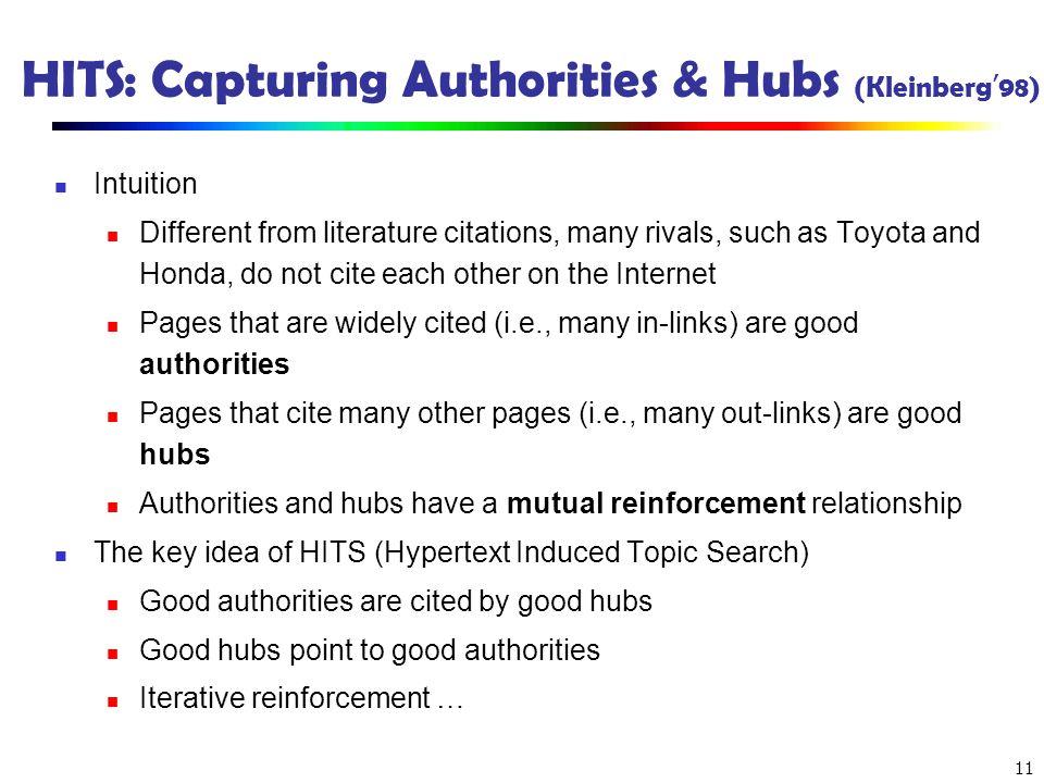 HITS: Capturing Authorities & Hubs (Kleinberg'98)