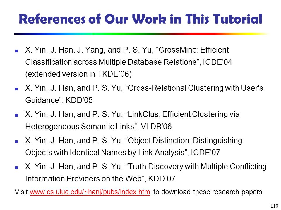 References of Our Work in This Tutorial