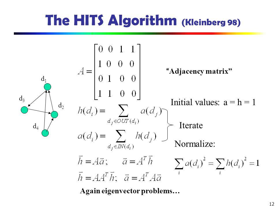 The HITS Algorithm (Kleinberg 98)