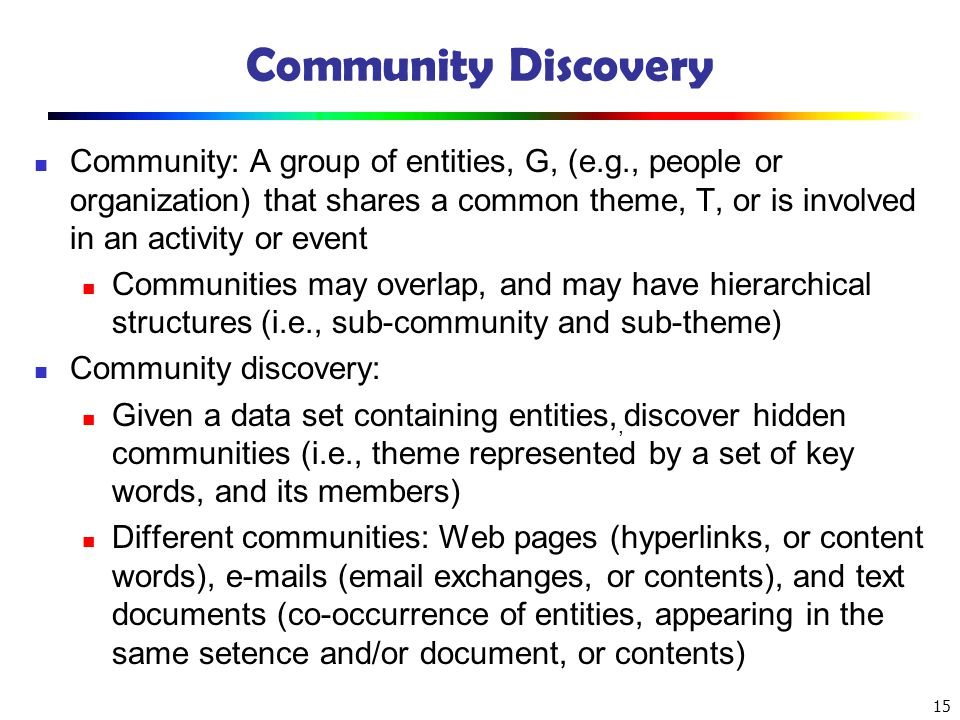 Community Discovery