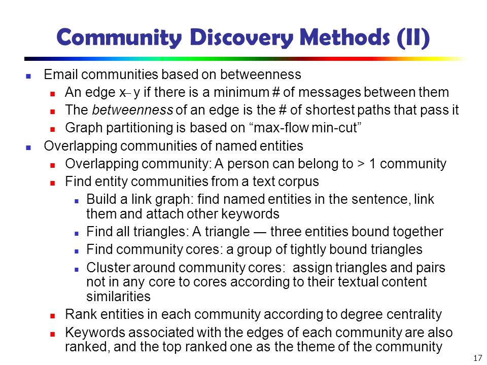 Community Discovery Methods (II)