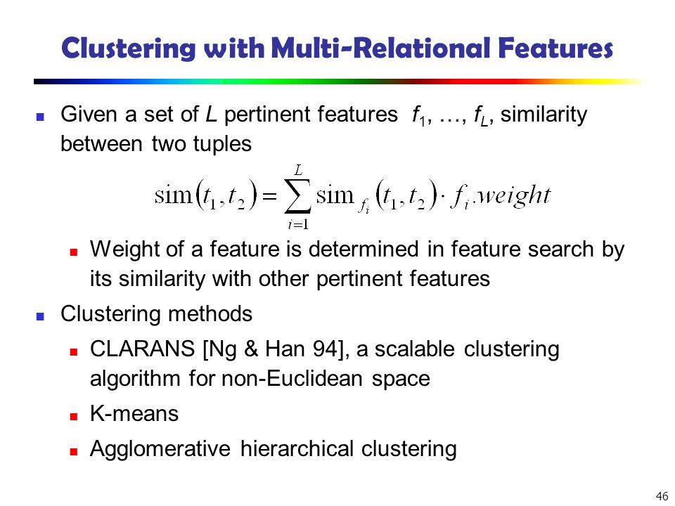 Clustering with Multi-Relational Features