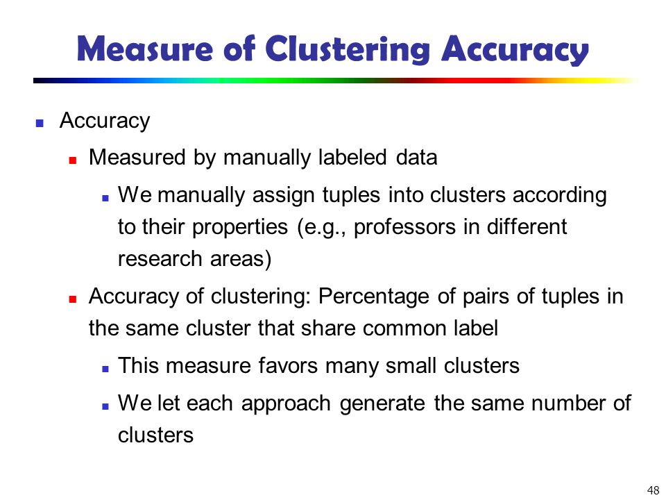 Measure of Clustering Accuracy