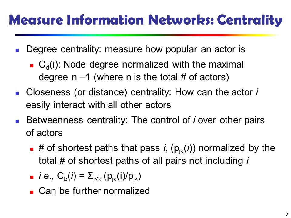 Measure Information Networks: Centrality