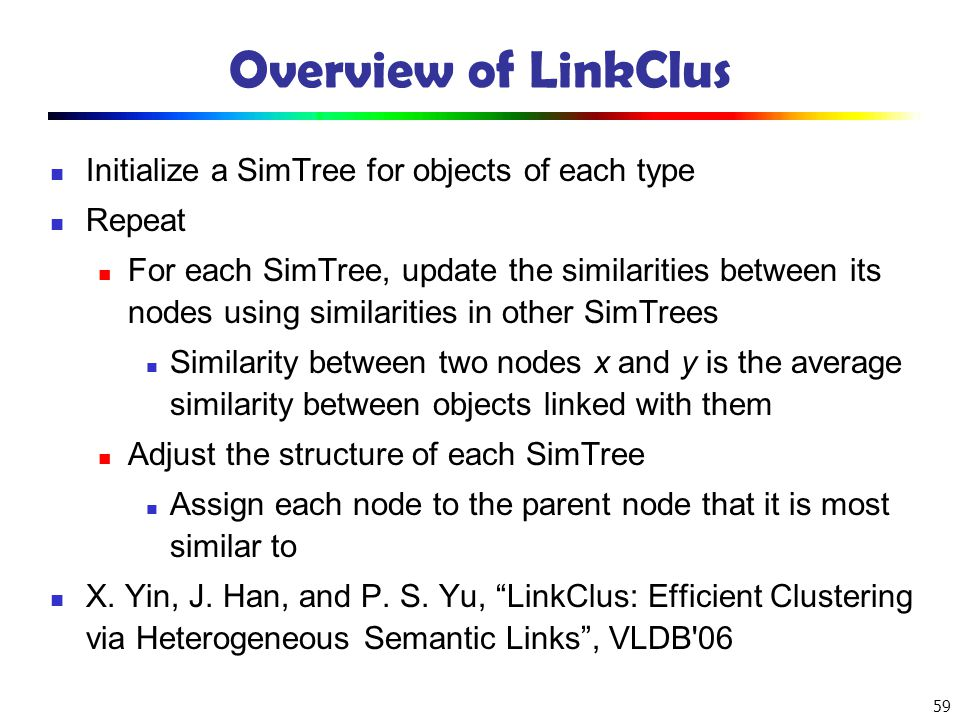 Overview of LinkClus Initialize a SimTree for objects of each type
