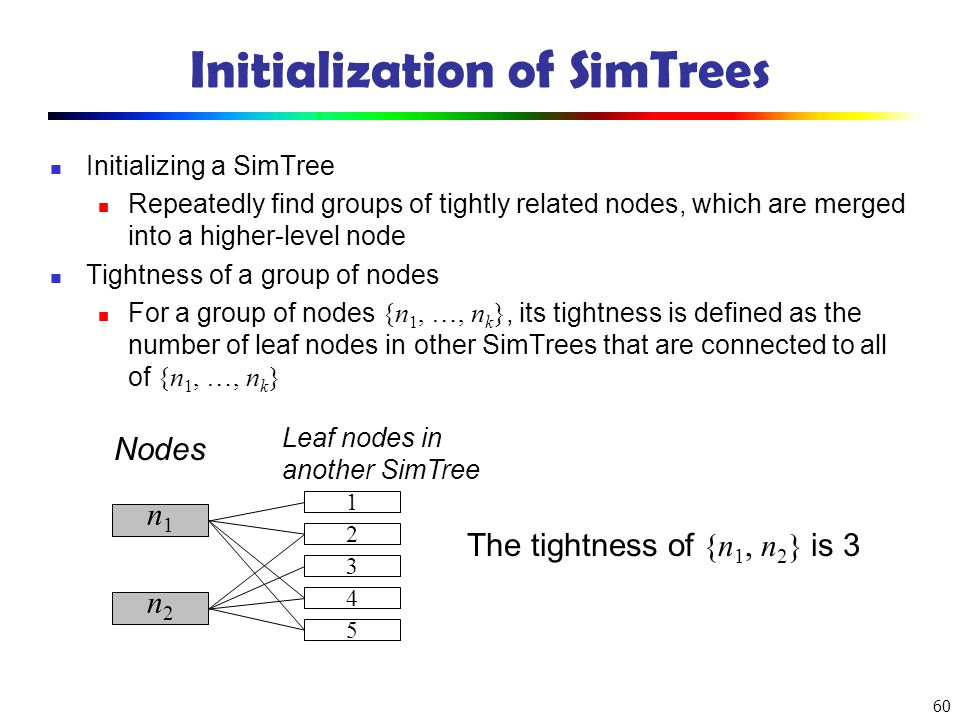 Initialization of SimTrees
