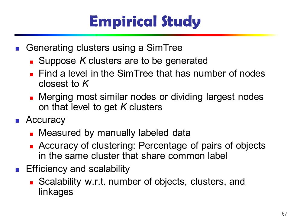 Empirical Study Generating clusters using a SimTree