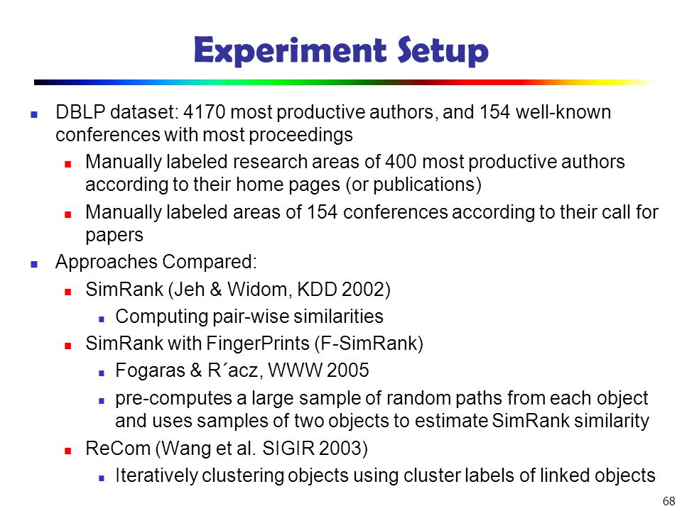 Experiment Setup DBLP dataset: 4170 most productive authors, and 154 well-known conferences with most proceedings.