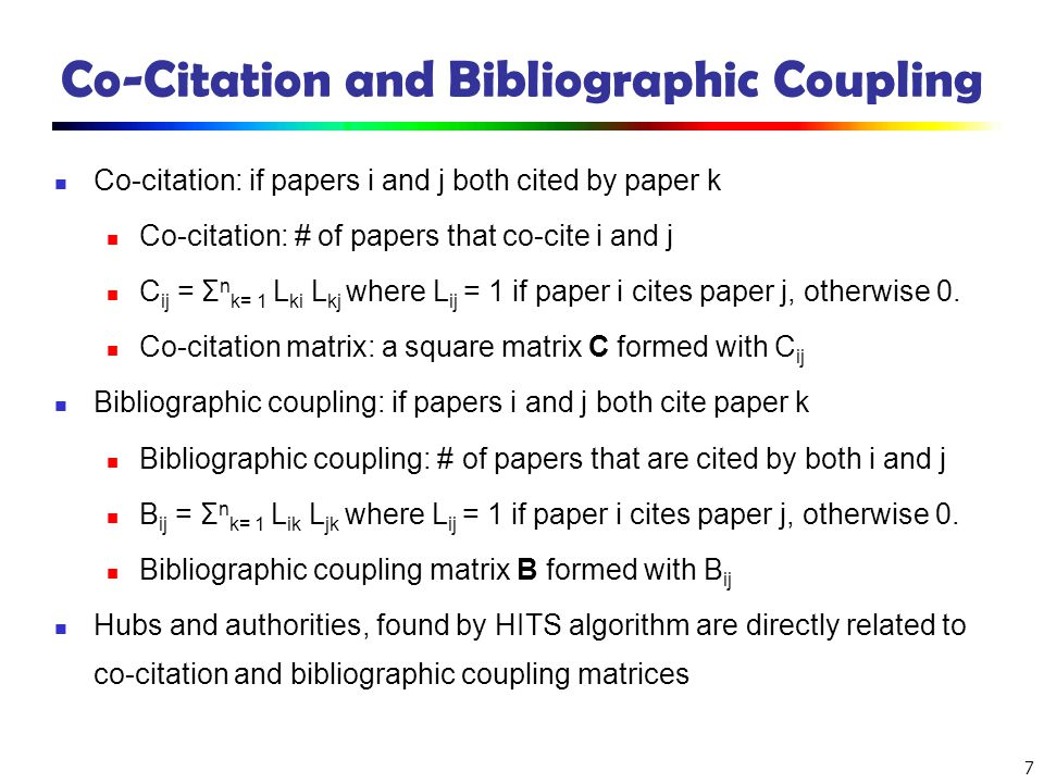 Co-Citation and Bibliographic Coupling
