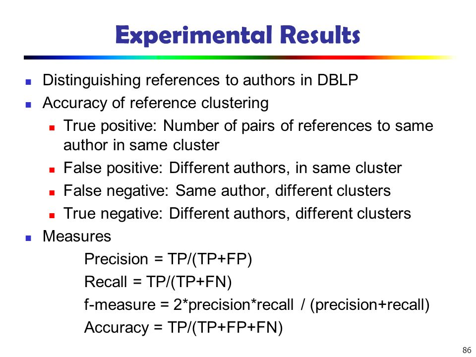 Experimental Results Distinguishing references to authors in DBLP