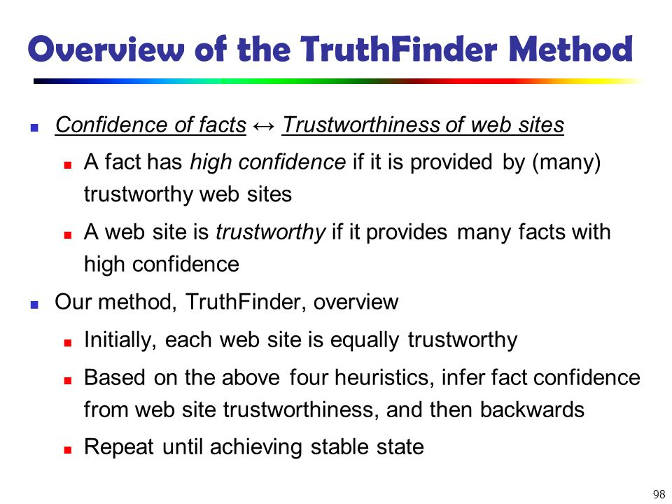 Overview of the TruthFinder Method