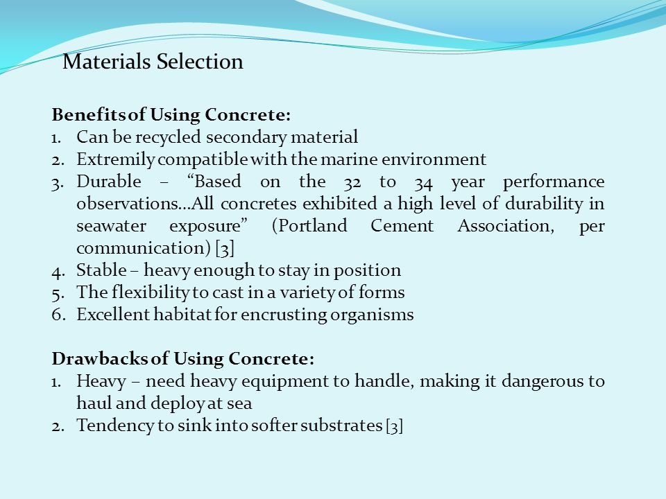 Materials Selection Benefits of Using Concrete: