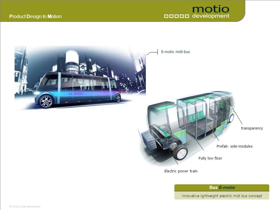 Innovative lightweight electric midi bus concept