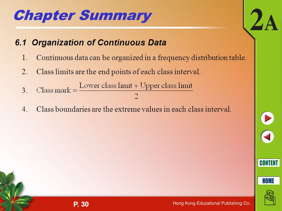 Chapter Summary 6.1 Organization of Continuous Data