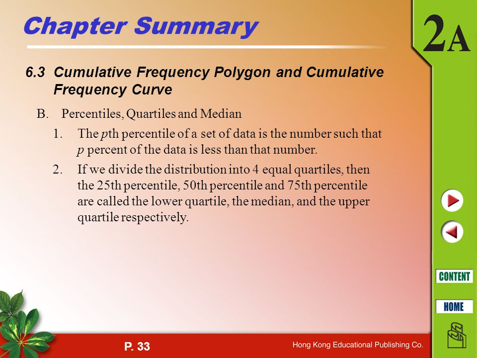 Chapter Summary 6.3 Cumulative Frequency Polygon and Cumulative Frequency Curve. B. Percentiles, Quartiles and Median.