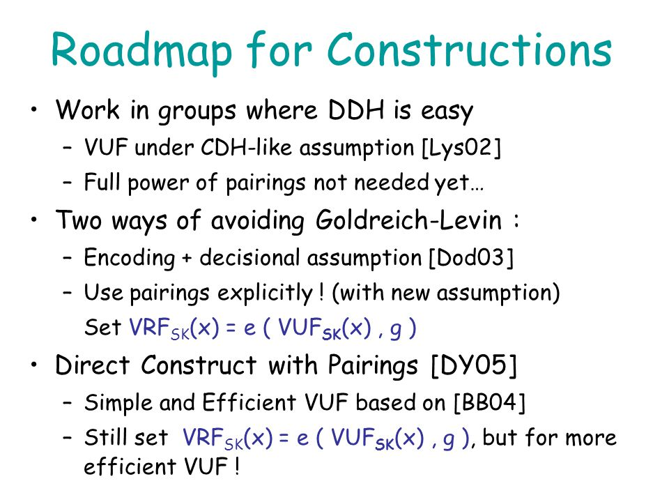 Roadmap for Constructions