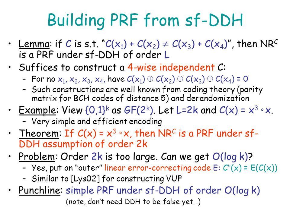 Building PRF from sf-DDH
