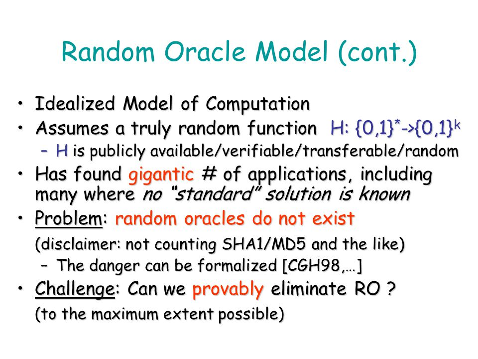 Random Oracle Model (cont.)