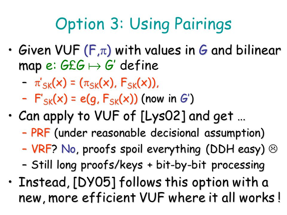 Option 3: Using Pairings