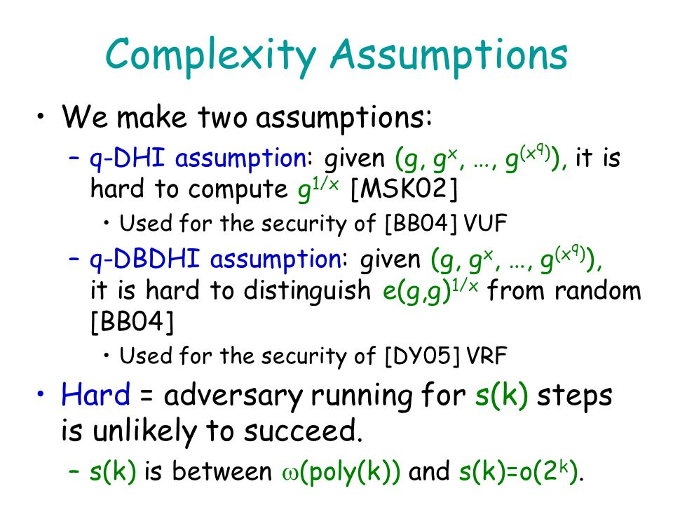 Complexity Assumptions