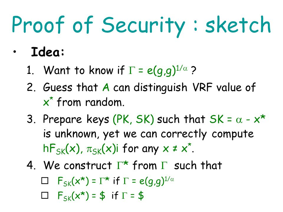 Proof of Security : sketch