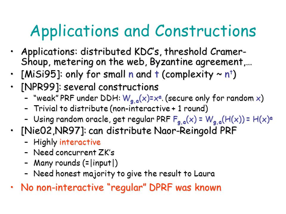 Applications and Constructions