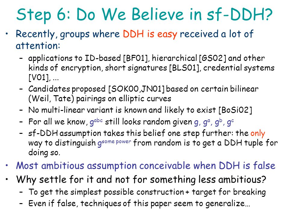 Step 6: Do We Believe in sf-DDH