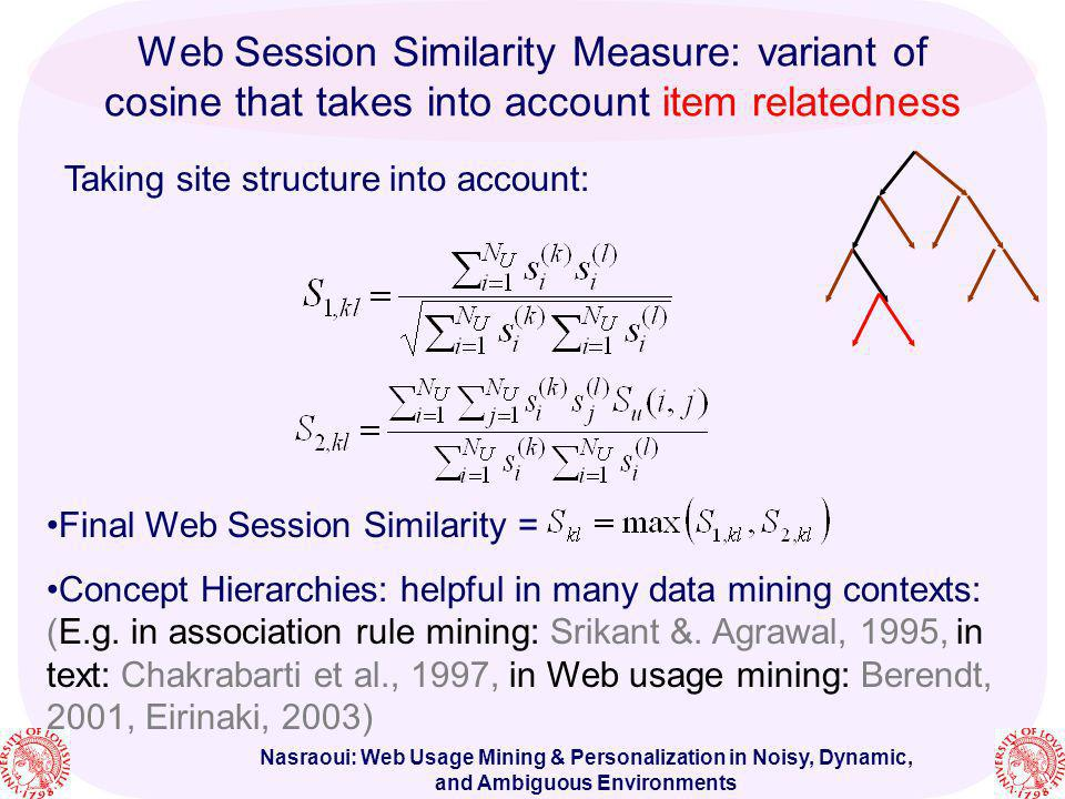 Web Session Similarity Measure: variant of cosine that takes into account item relatedness