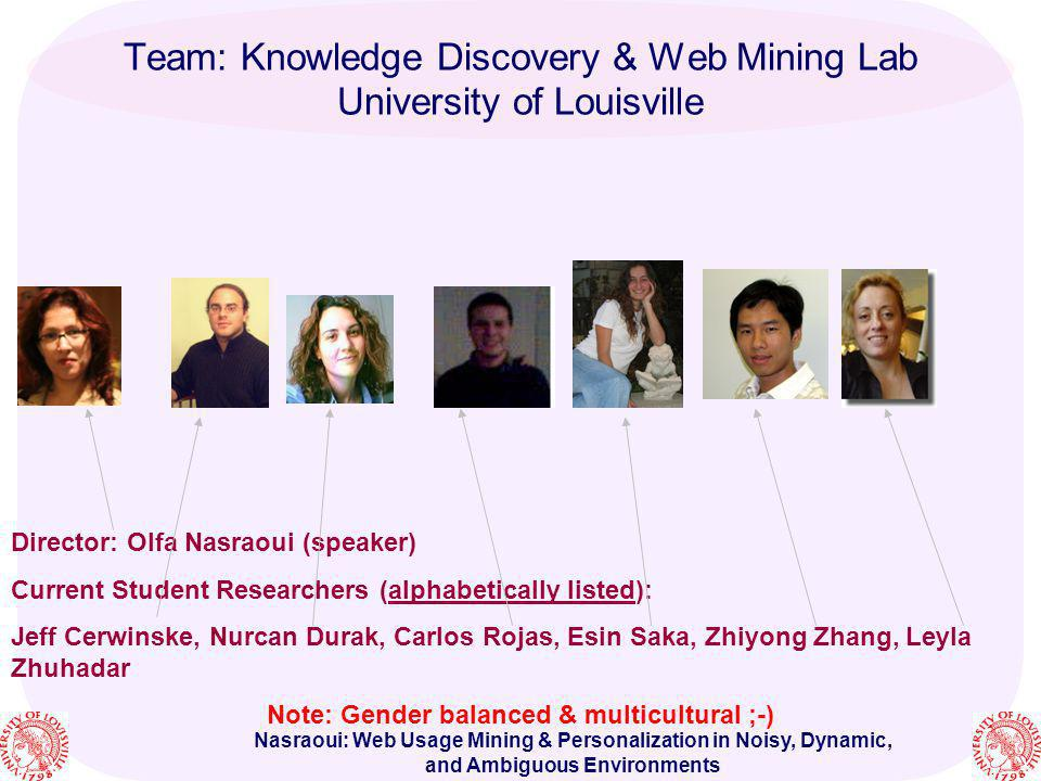 Team: Knowledge Discovery & Web Mining Lab University of Louisville