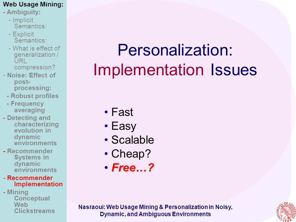 Personalization: Implementation Issues