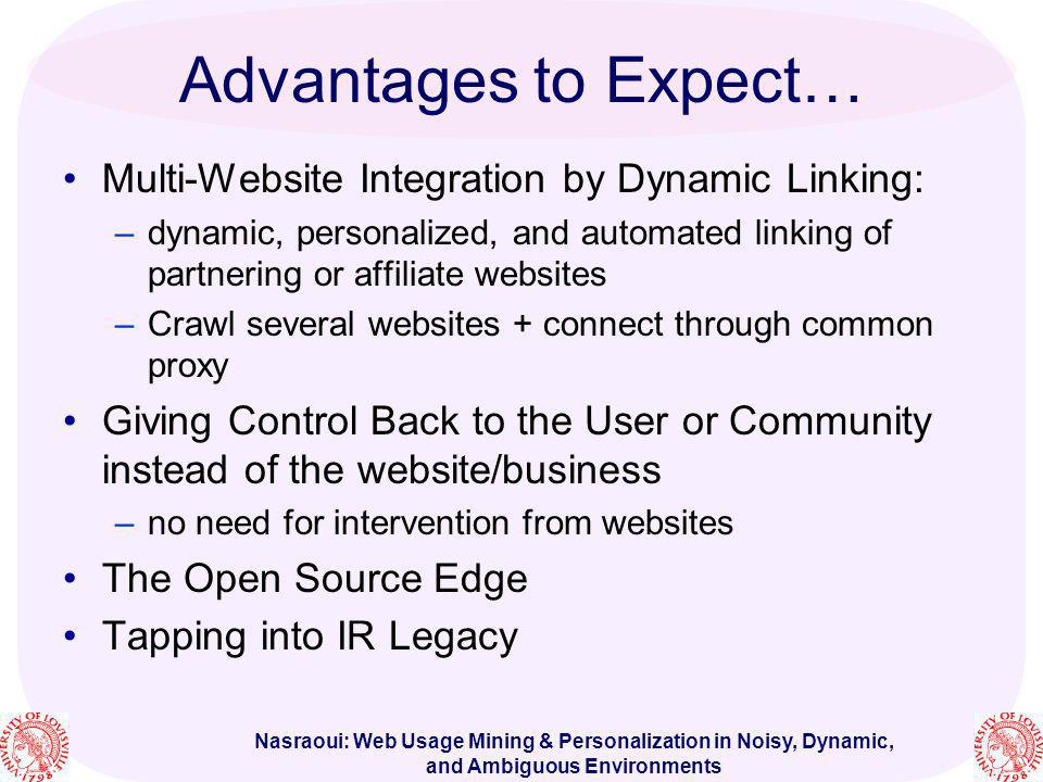 Advantages to Expect… Multi-Website Integration by Dynamic Linking: