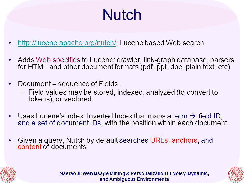 Nutch http://lucene.apache.org/nutch/: Lucene based Web search