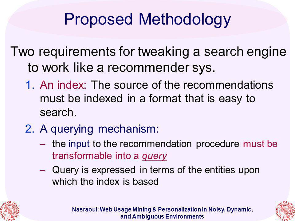 Proposed Methodology Two requirements for tweaking a search engine to work like a recommender sys.