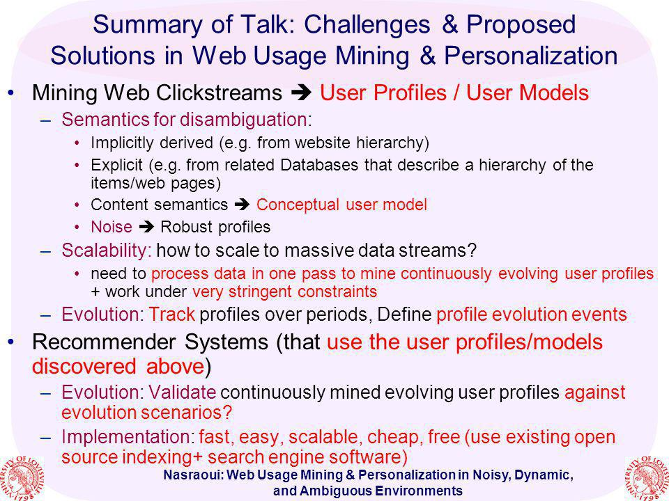 Summary of Talk: Challenges & Proposed Solutions in Web Usage Mining & Personalization