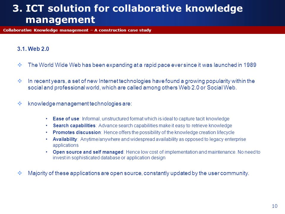 3. ICT solution for collaborative knowledge management