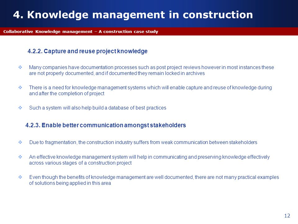 4. Knowledge management in construction