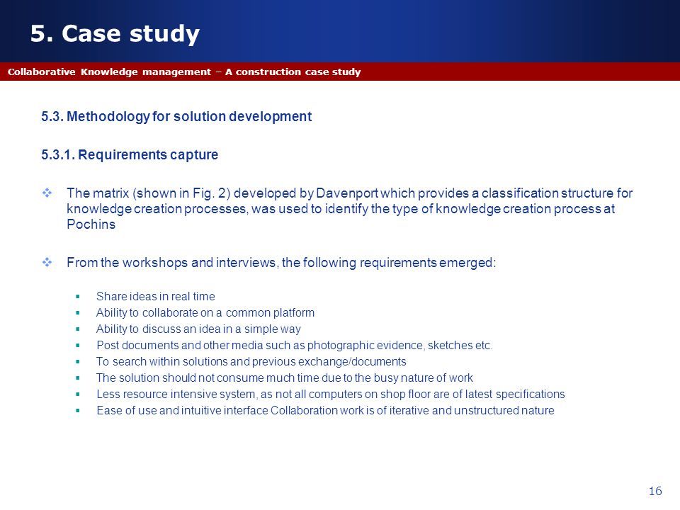 5. Case study 5.3. Methodology for solution development